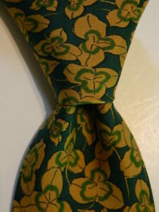 HERMES 7228 UA Mens 100% Silk Necktie FRANCE Luxury FLORAL Green/Gold Skinny GUC