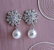 412751b2b8fb Gota de perla pendientes de plata con C.Z.   Circón clúster  Boda Fiesta.