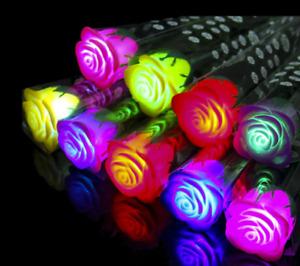 LED Light Up Flashing Rose Flower Valentine Gifts Luminous Plastic Rose 10pcs