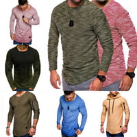 Luxury Men's Slim Crew Neck Long Sleeve T-shirt Casual Pullover Tops Blouse Lots