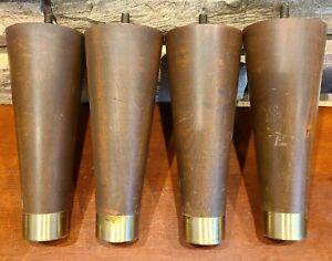 "Vintage Set 4 MCM 7"" Solid Wood w/ Brass Tip Sofa Ottoman Dresser Legs / Feet"