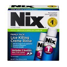 NIX Permethrin Head Lice Treatment Family Pack 2x2 oz Bottles Plus 2 Nit Combs