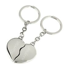 Personalised Split Love Heart Couples Keyrings With Engraved Names & Date