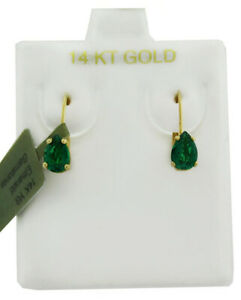 EMERALDS 1.28 Cts DANGLING EARRINGS 14K YELLOW GOLD * New With Tag * LEVER BACK