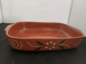 "Handmade Portuguese Terracotta Oven Dish with Floral Design 15"" #SH-CO1"