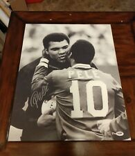 """""""THE GREAT PELE"""" SIGNED LARGE 16X20"""" POSTER PHOTO W/""""PSA/DNA HOLOGRAM"""""""