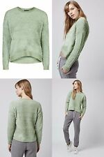Topshop Fluffy Knitted Green Sweater Jumper Top Size UK 10 EUR 38 1d3947d99