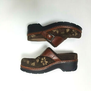 Klogs Brown 8.5 M F-7 Leather Clogs Floral Embroidered Slip On Work Nurse Shoes
