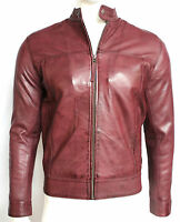 Alvin New Slim Body Fit Mens Gents Burgundy Designer Casual Leather Biker Jacket