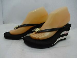 Juicy Couture Womens Size 7M Black n White Striped Wedge Apple Flipflop Sandals