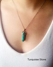 Fashion Jewelry Natural Quartz Turquoise Agate Amethyst Stone Pendant Necklace