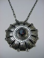 Old Taxco Huge Silver Necklace Smoky Topaz signed