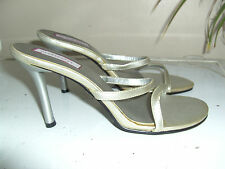 Ladies LOVELY BN METALLIC  GREY MULES/ HEELS Size UK 7/ EUR 40