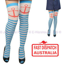 Fancy Dress Costume Party Blue White Stripe Sailor Nautical Anchor Stockings