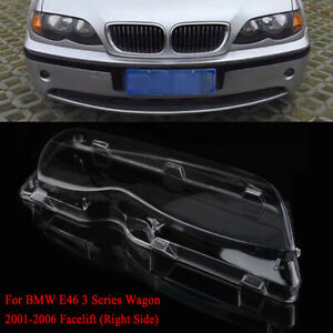 For BMW E46 3-series 4 Door 02-05 Right Side Headlight Headlamp Lens Clear Cover