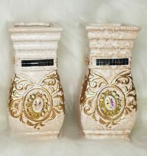 Vintage Victorian Hand Crafted Small Ceramic Vases set of 2.