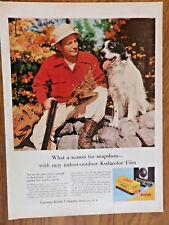 1957 Kodak Camera Ad Bird Hunting Theme Shotgun Hunter & Dog