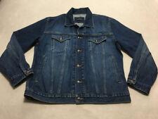 Lands End Mens L 42 44 Basic Denim Blue Jean Button Front Jacket Coat Trucker