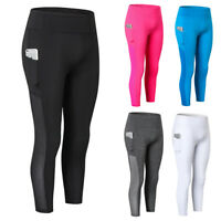 Women's Compression Leggings with Pocket Cropped Yoga Gym 3/4 Pants High Waist