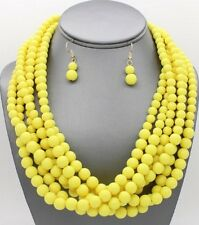Six Strand Yellow Lucite Bead Necklace Earring Set