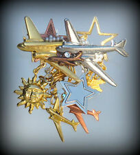 AIRPLANE JET FLY SKY AIRPORT AIRLINE FLIGHT PLANE Pin Brooch Gold OOAK Caramia