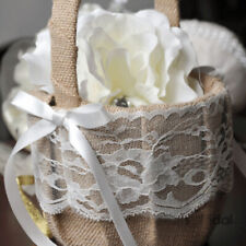 Wedding Flower Girl Basket Vintage Burlap Lace Bowknot Flower Basket Fa1