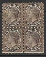 TURKS ISLANDS SG60 1887 1/= SEPIA MNH BLOCK OF 4