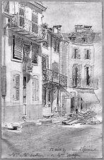 LÉON BERVILLE 5 DESSINS ORIGINAUX 1879 PLOMBIÈRES-LES-BAINS Vosges Lorraine