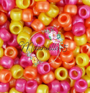 3 For 2 X100 SUMMER PEARL MIX 9 X 6mm PONY BEADS IDEAL FOR CRAFTS