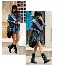 US Women Denim Trench Coat Hoodie Hooded Outerwear Jean Jacket Ladies Outwear