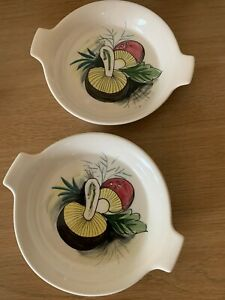 2 x Mancioli Italian Pottery mushroom oven dishes - 13.5 cm w Hand Painted