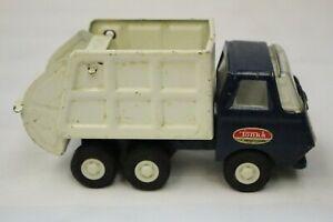 Vintage Mini Tonka Garbage Truck 55060 Blue/White Pressed Steel Diecast Toy -M46