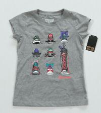 Neuf All Star Converse T-Shirt Top Enfants Filles Gris Gr.104-110