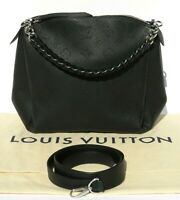LOUIS VUITTON Black Mahina Leather Babylone Chain BB Shoulder Bag Tote M51223 EC