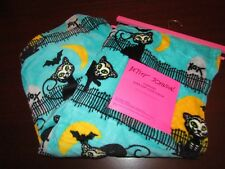 betsey johnson halloween blanket throw 50x70 nwt black cats on fence turquoise