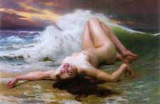 ZOPT299 nude girl lie supine on beach sea wave painted oil painting art canvas