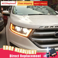 2Pcs For Ford Edge Headlights assembly Bi-xenon Lens Projector LED DRL 2015-2018