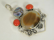 PENDANT: HUGE AGATE RED CORAL ABALONE SHELL SILVER DETAILING 925 STERLING SILVER