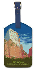 Leatherette Vintage Travel Ukulele Baggage Label ZION NATIONAL PARK THRONE Utah