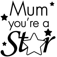 Mum you're a star Mothers day Wine Glass Mug cup Sticker WHITE  SILVER 7cm