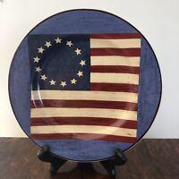 "x4 Salad Plates ""Spirit of the Flag""- Kimble Brandon House 4th of July 13 Stars"