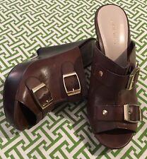 Nine West Brown Leather Wedge Slide Sandal Gold Buckle Detail 6.5 M ~ EUC