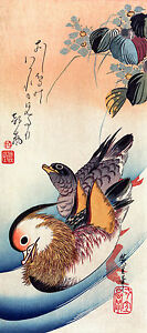 Utagawa Hiroshige - Mandarin Ducks Oshidor, Museum Art Poster, Canvas Print