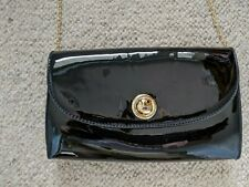 PAVERS BLACK PATENT LOOK CLUTCH/SHOULDER BAG WITH LONG GOLD COLOURED CHAIN