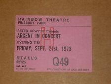 Argent/Glencoe 1973 Rainbow Theatre Concert Ticket