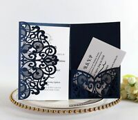 Tri-fold Invitation Cards Laser Cut Lace Wedding Greeting Card Party Need 100pcs