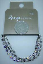 George Ladies Pearly,Diamonte&Silvery Chain Bracelet/Bangle,Costume Jewellery