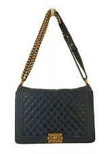 CHANEL Classic Medium Quilted Royal Blue Caviar Leather Chain Le Boy Bag Purse