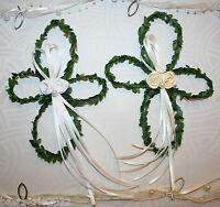 2 x Buchsbaum Kreuz Tellerdeko Kommunion Konfirmation Taufe Tischdeko creme/weiß