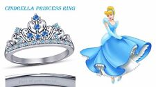 Round Cut Multi-Stone 14K White Gold Plated Cinderella Disney Princess Ring